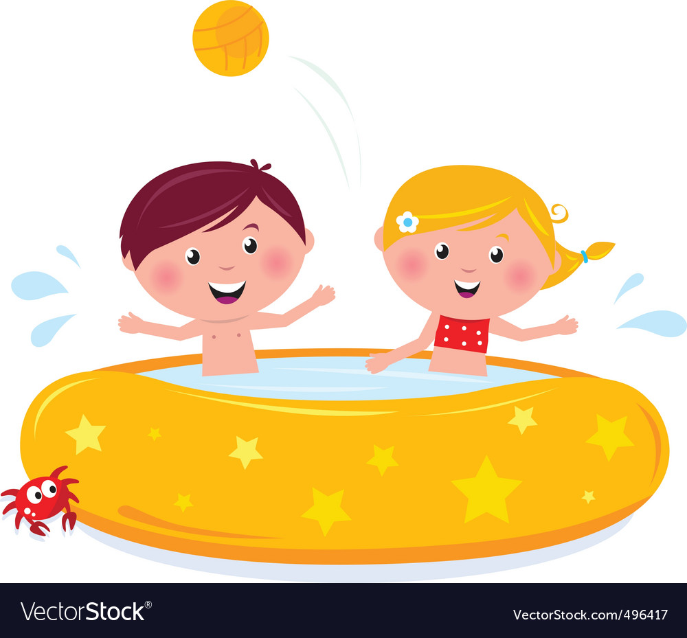 Cartooon kids in pool vector | Price: 1 Credit (USD $1)