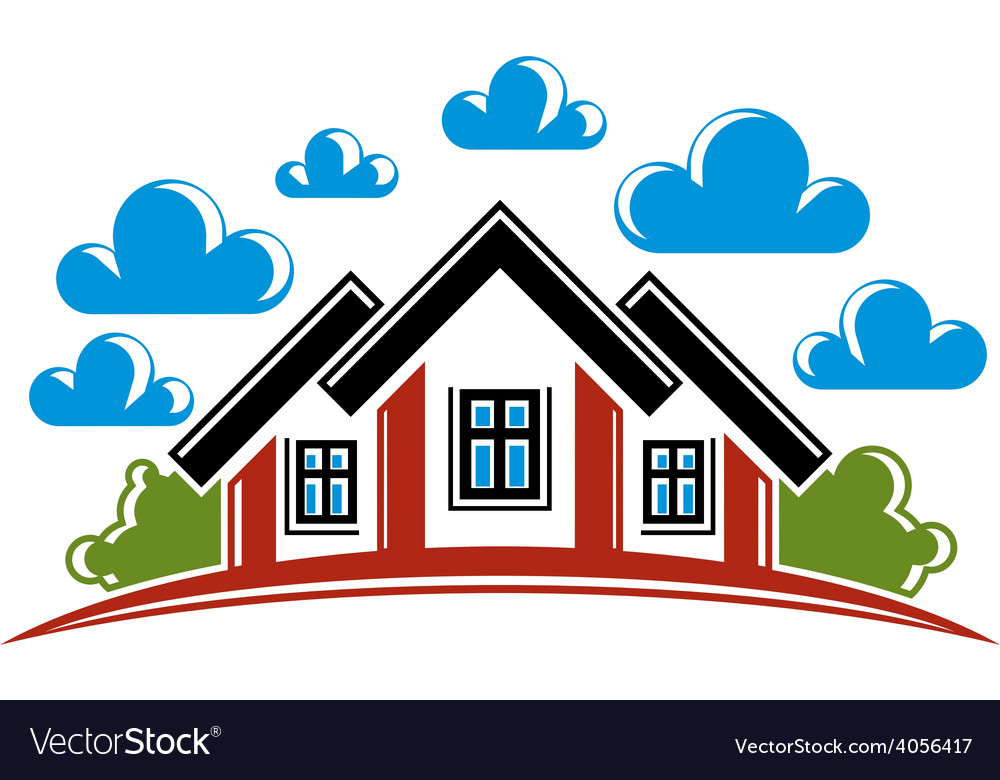 Colorful of country houses on nature background vector | Price: 1 Credit (USD $1)