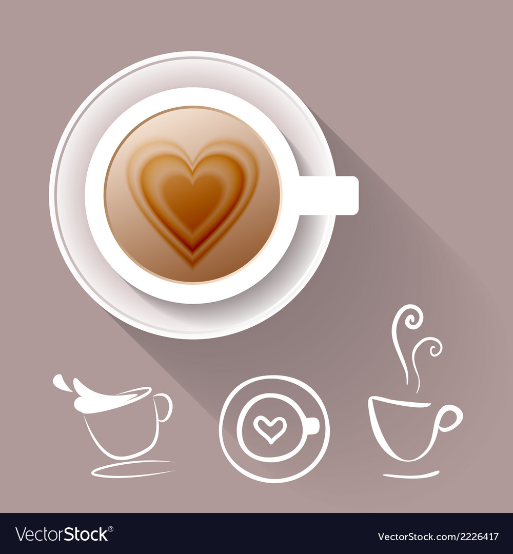 Cup of coffee and some cup icons vector | Price: 1 Credit (USD $1)