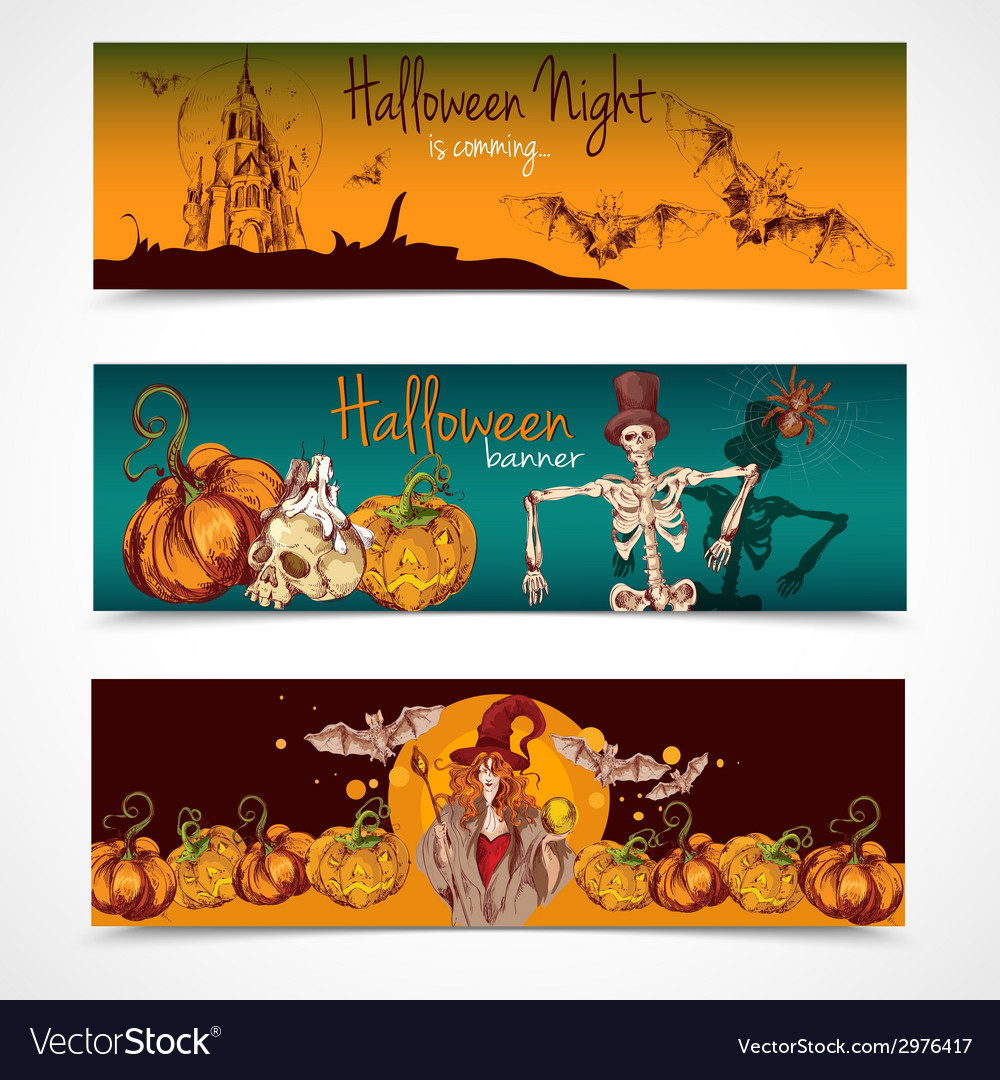 Halloween colored banners horizontal vector | Price: 1 Credit (USD $1)