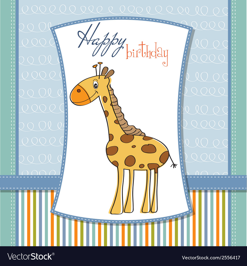 Happy birthday card with nice giraffe vector   Price: 1 Credit (USD $1)