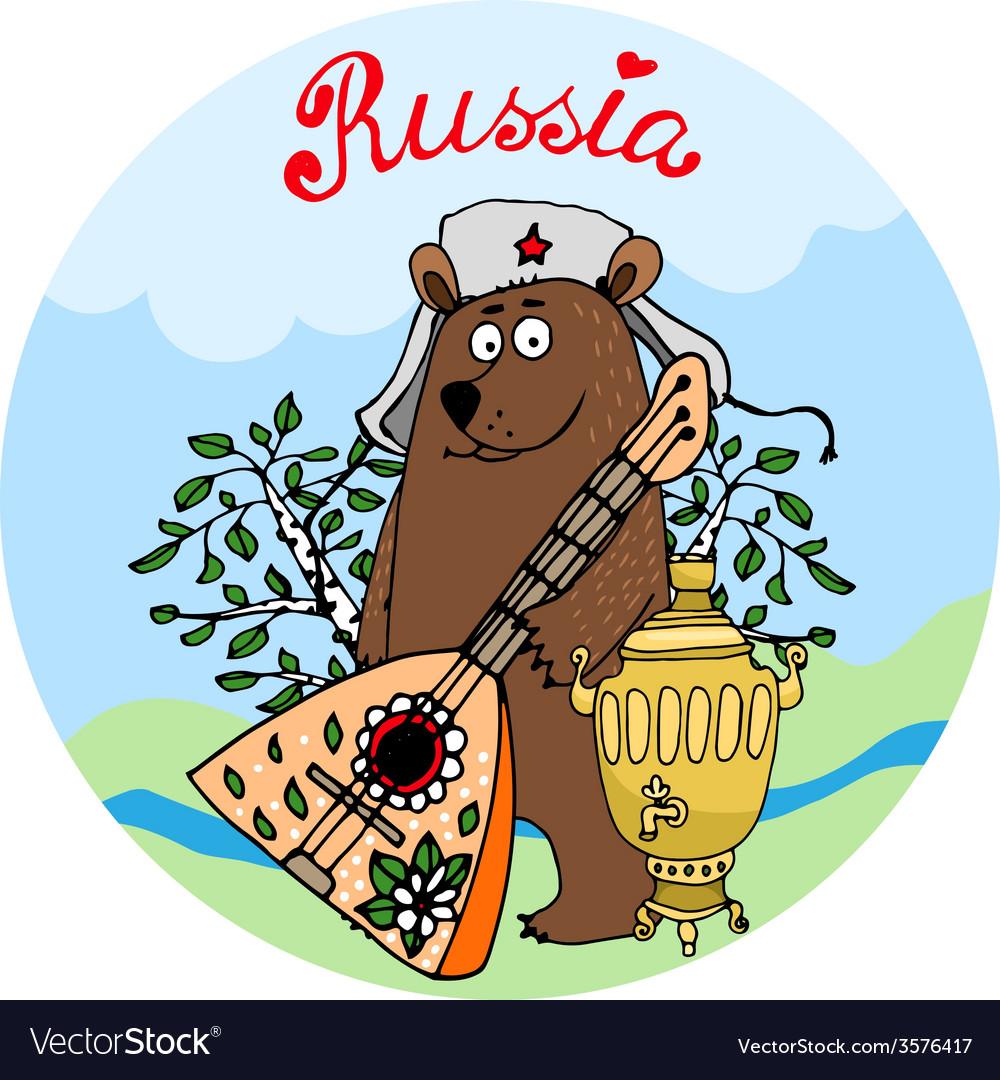 Hospitable russian bear with a balalaika vector | Price: 1 Credit (USD $1)