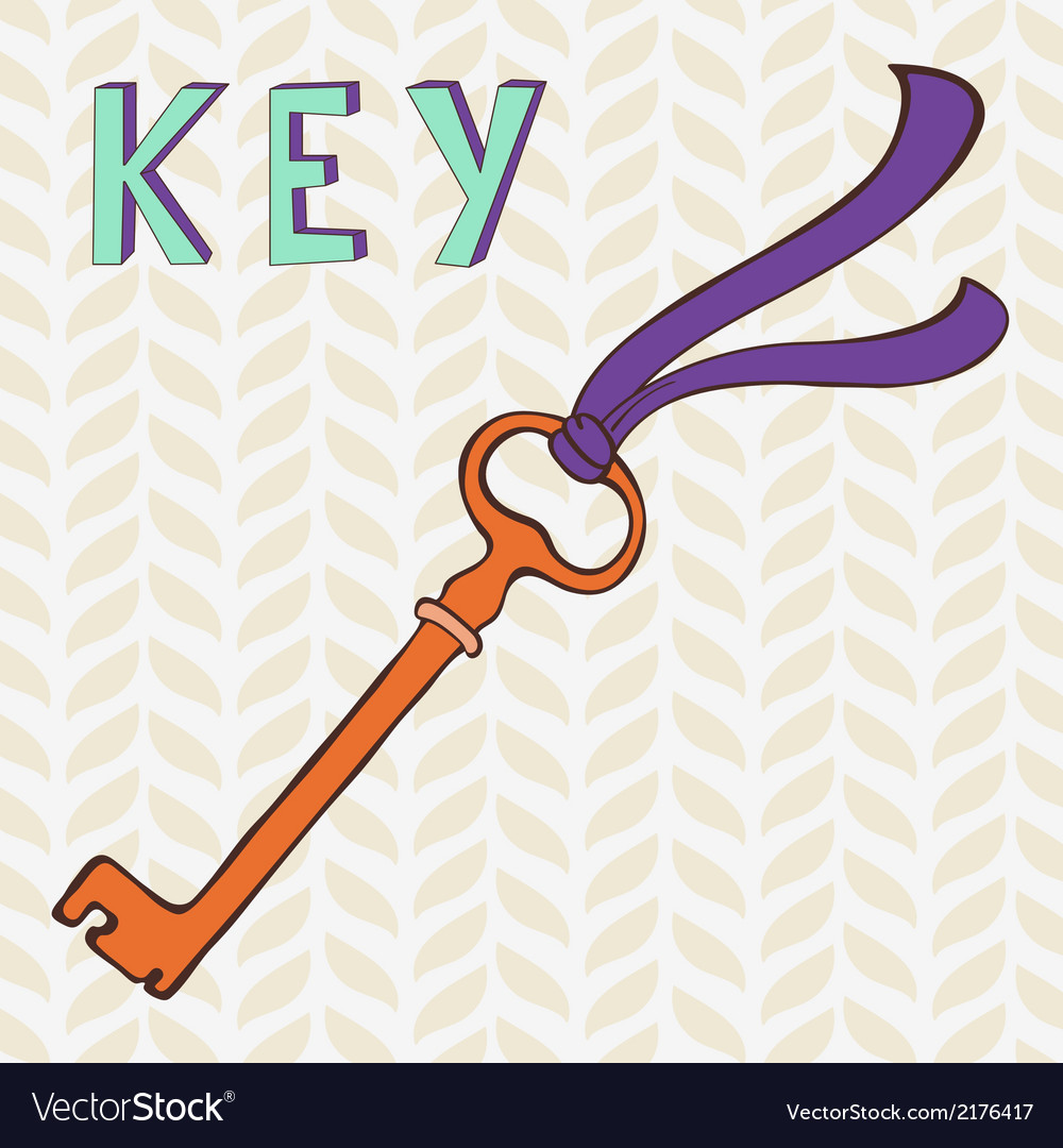 Retro key with ribbon vector | Price: 1 Credit (USD $1)