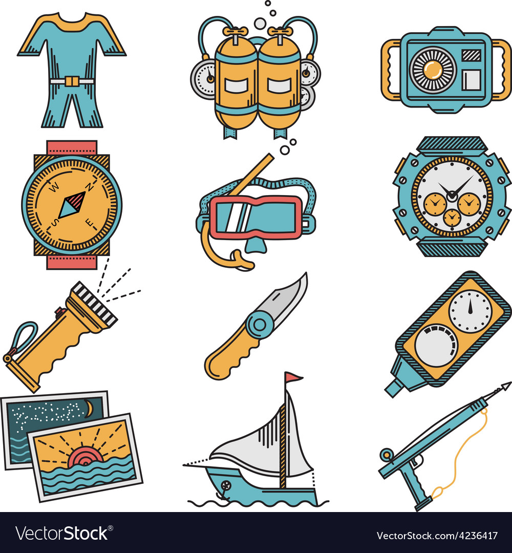 Scuba equipment flat style icons vector | Price: 1 Credit (USD $1)