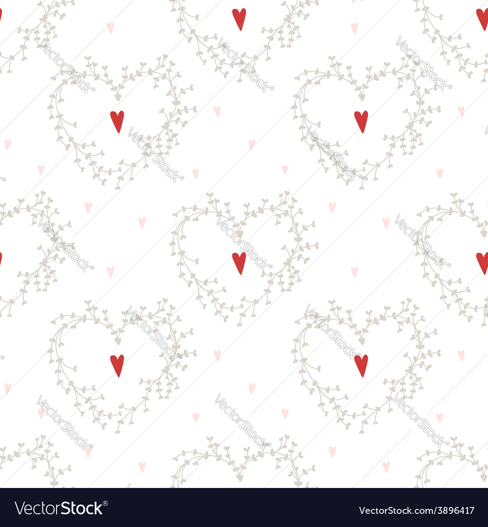 Seamless pattern with hearts and wreathes vector | Price: 1 Credit (USD $1)