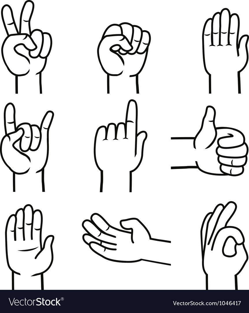Set of hands and gestures vector | Price: 1 Credit (USD $1)