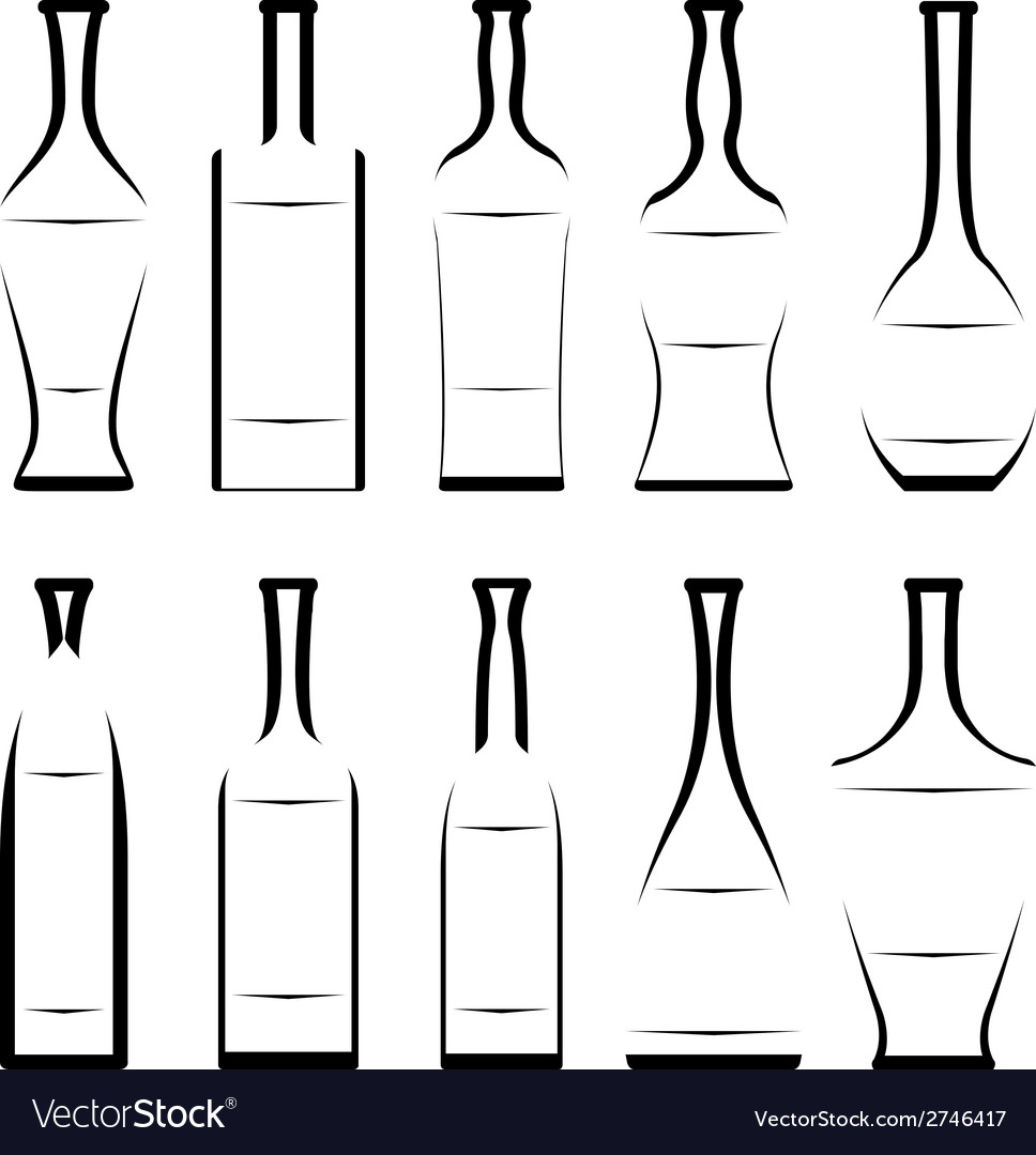 Set of stencil of bottles vector | Price: 1 Credit (USD $1)