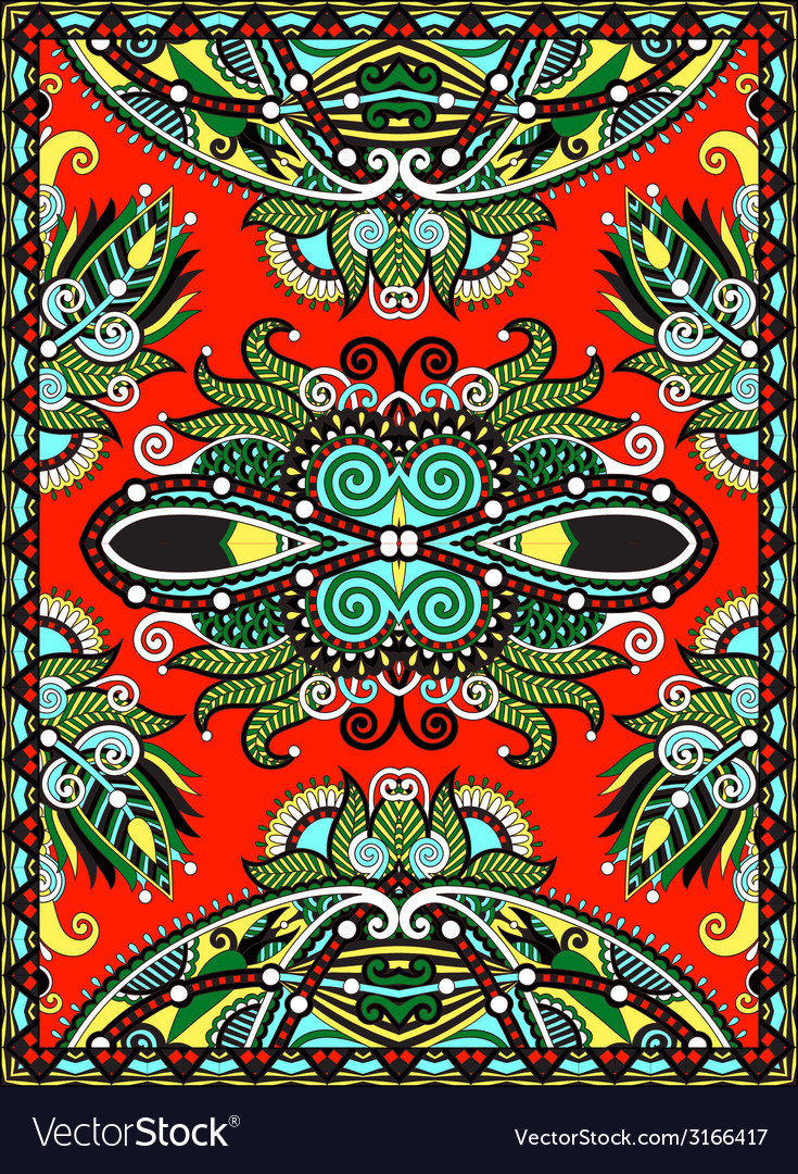 Ukrainian oriental floral ornamental carpet design vector | Price: 1 Credit (USD $1)