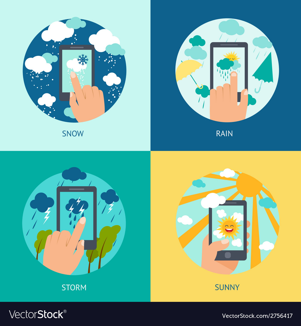 Weather smart phone set vector | Price: 1 Credit (USD $1)