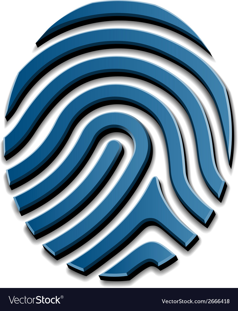 3d drawing fingerprint symbol vector | Price: 1 Credit (USD $1)