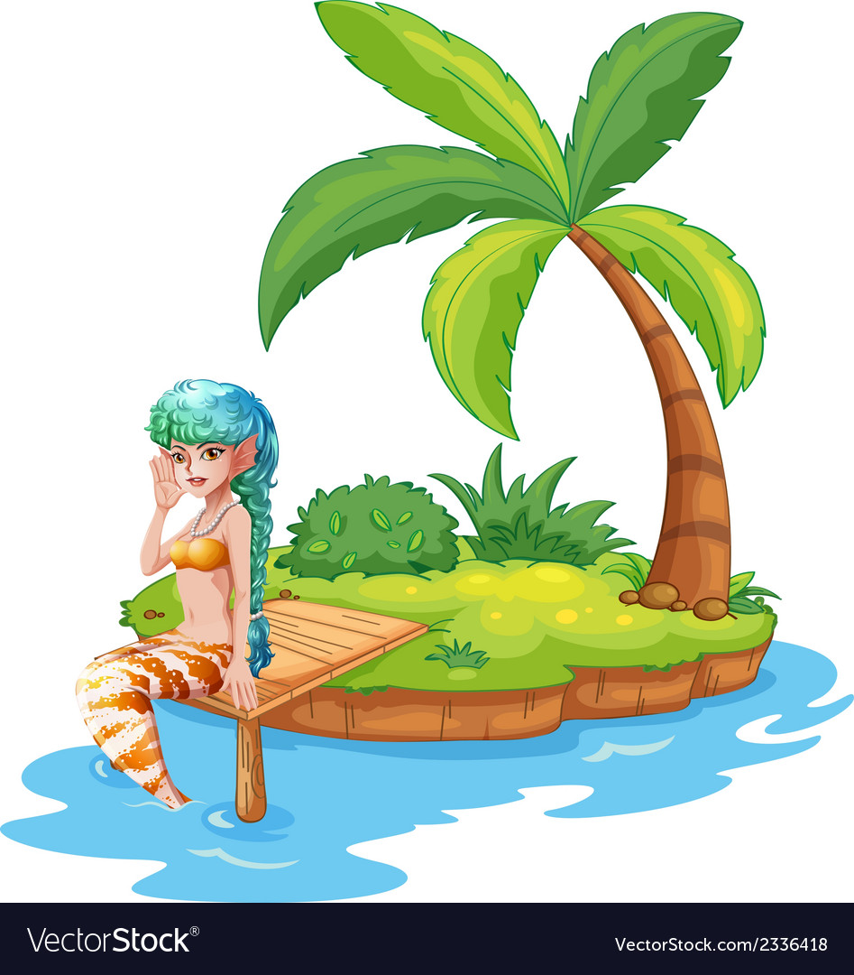 A pretty mermaid in the island vector | Price: 3 Credit (USD $3)