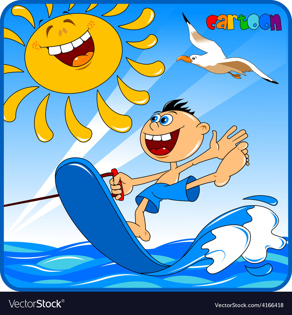 Cartoon boy water skiiing vector | Price: 1 Credit (USD $1)