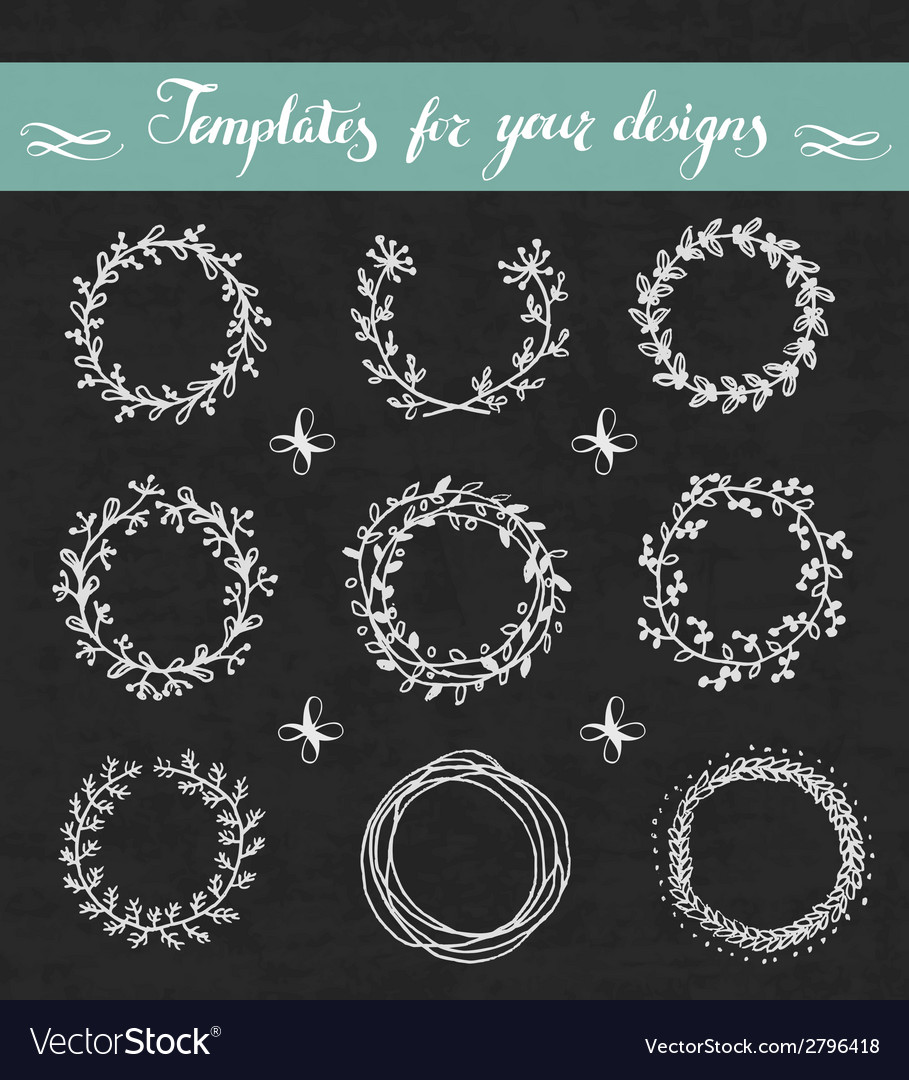 Chalkboard set of floral wreathes vector | Price: 1 Credit (USD $1)