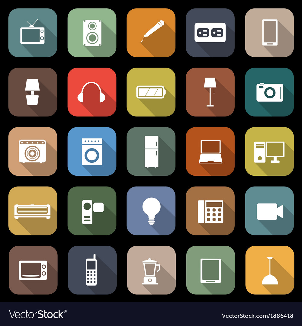 Electrical machine flat icons with long shadow vector | Price: 1 Credit (USD $1)