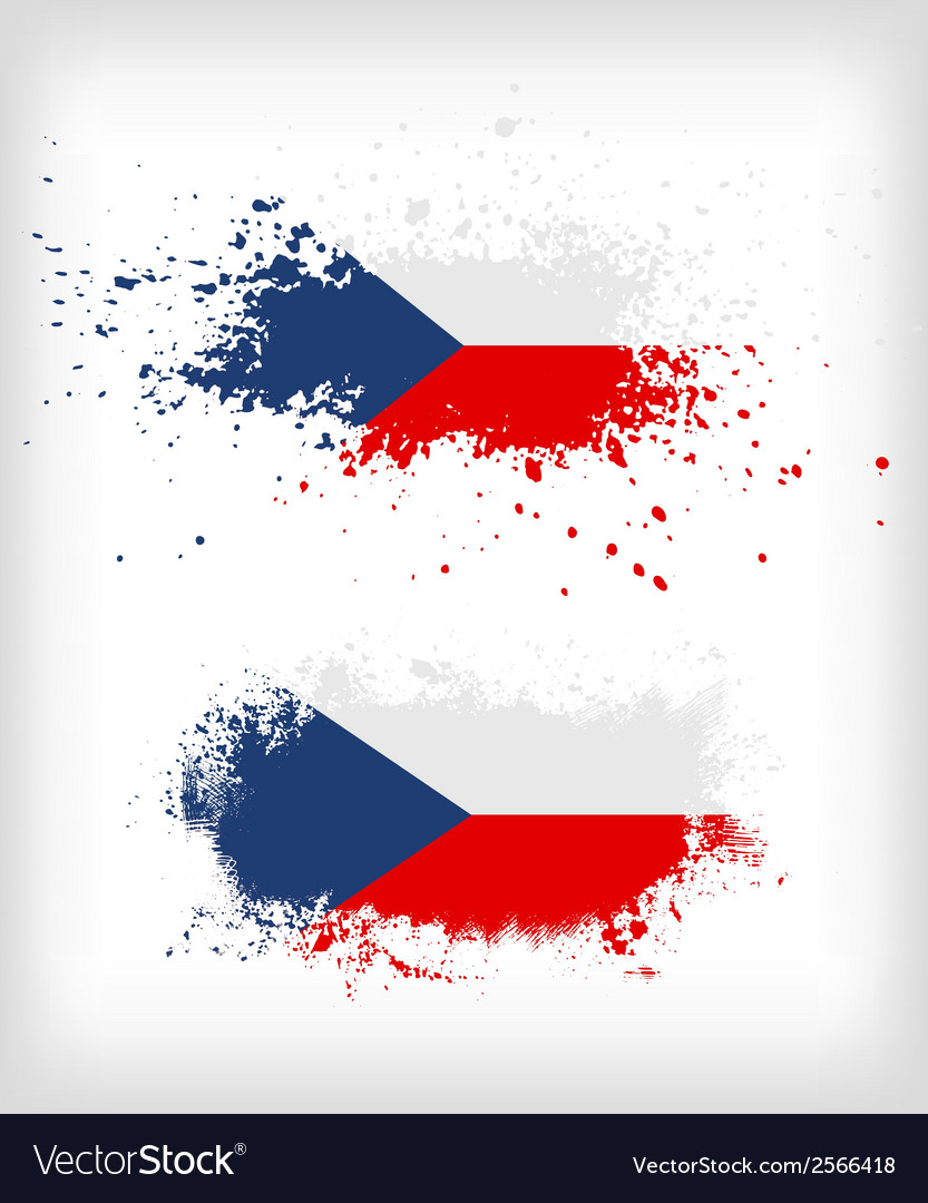 Grunge czech ink splattered flag vector | Price: 1 Credit (USD $1)