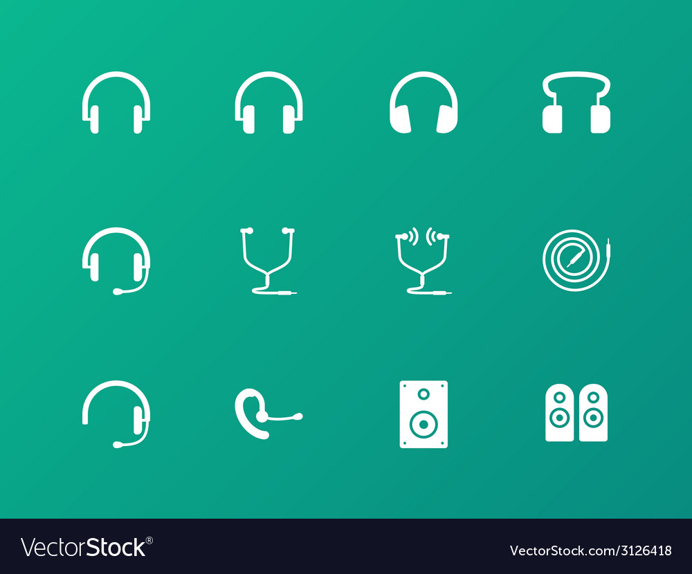 Headphones and headset icons on green background vector | Price: 1 Credit (USD $1)