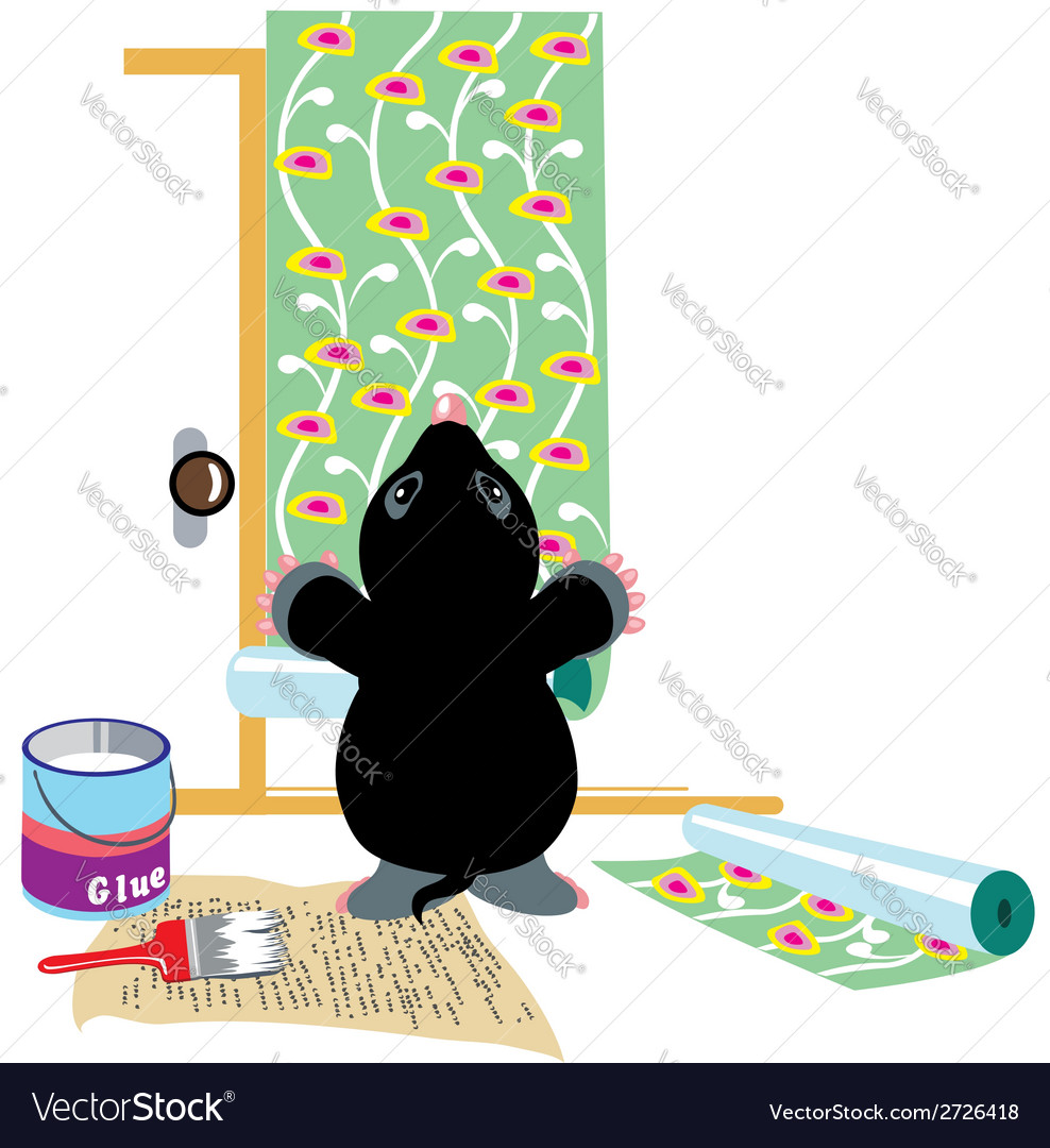 Mole gluing wallpapers vector | Price: 1 Credit (USD $1)