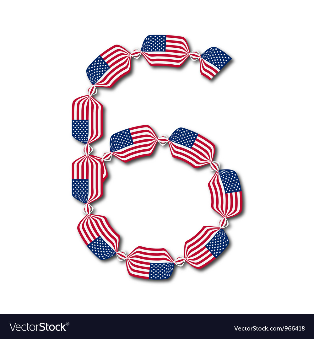 Number 6 made of usa flags in form of candies vector | Price: 1 Credit (USD $1)