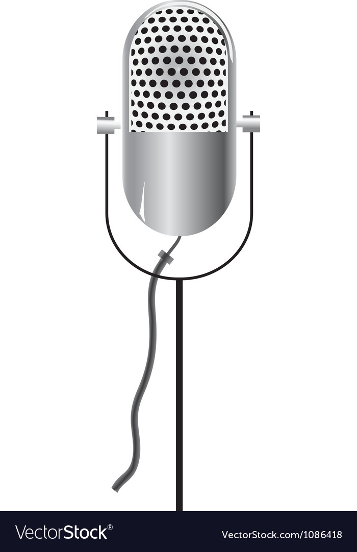 Retro microphone icon isolated on white vector | Price: 1 Credit (USD $1)