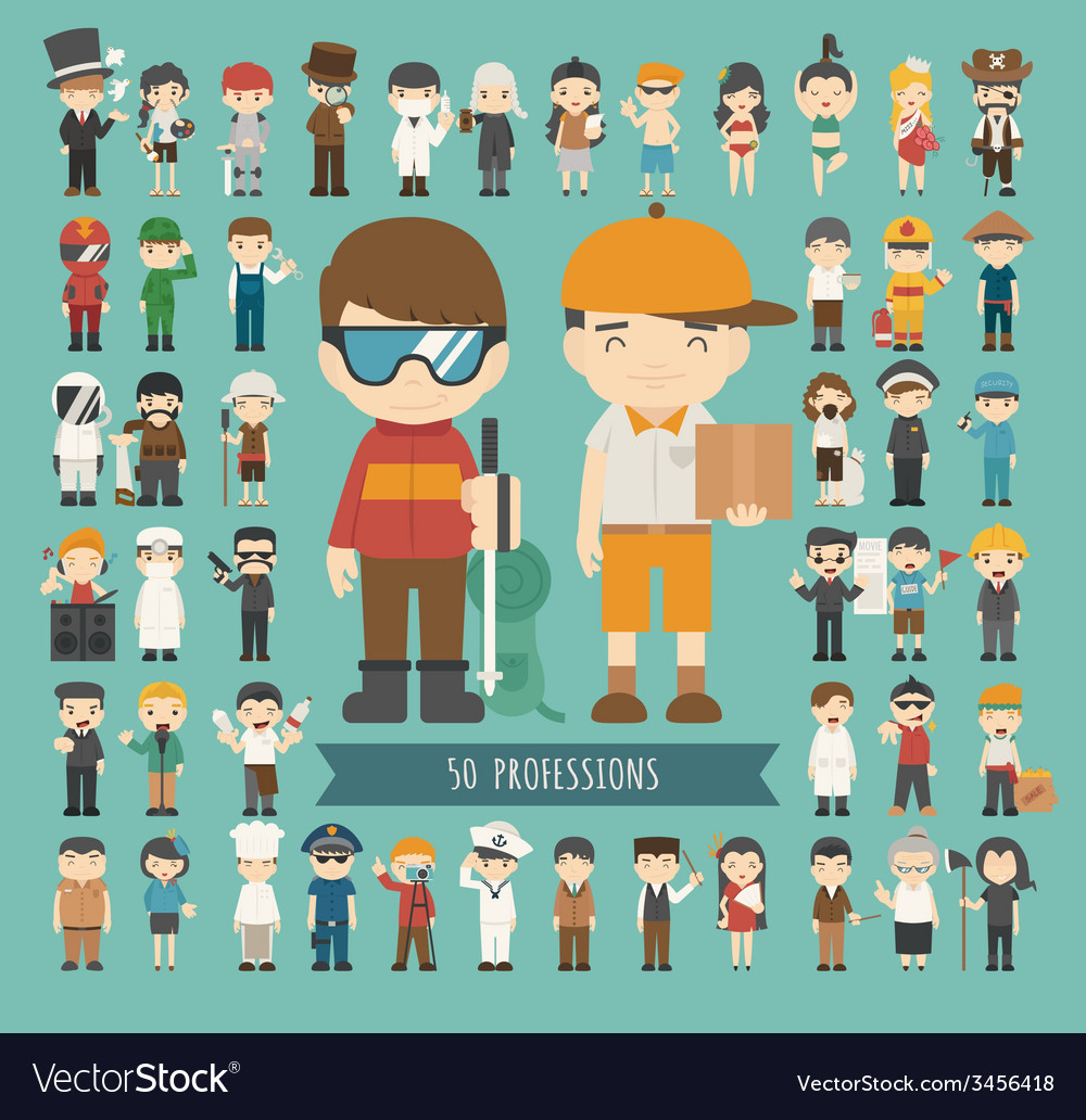 Set of 50 professions vector   Price: 1 Credit (USD $1)