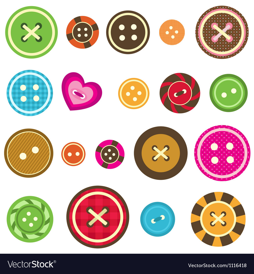 Sewing buttons on white background vector | Price: 1 Credit (USD $1)