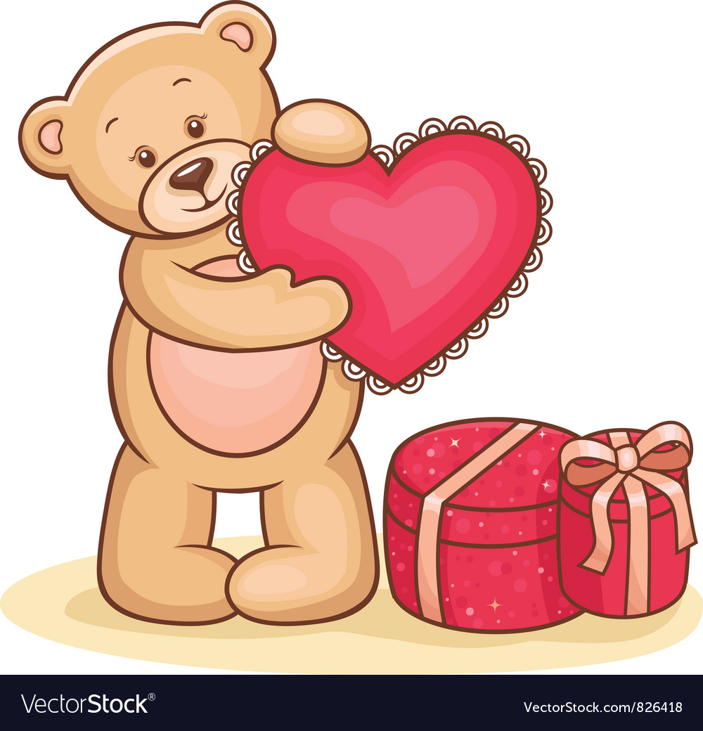 Teddy bear with heart vector | Price: 1 Credit (USD $1)