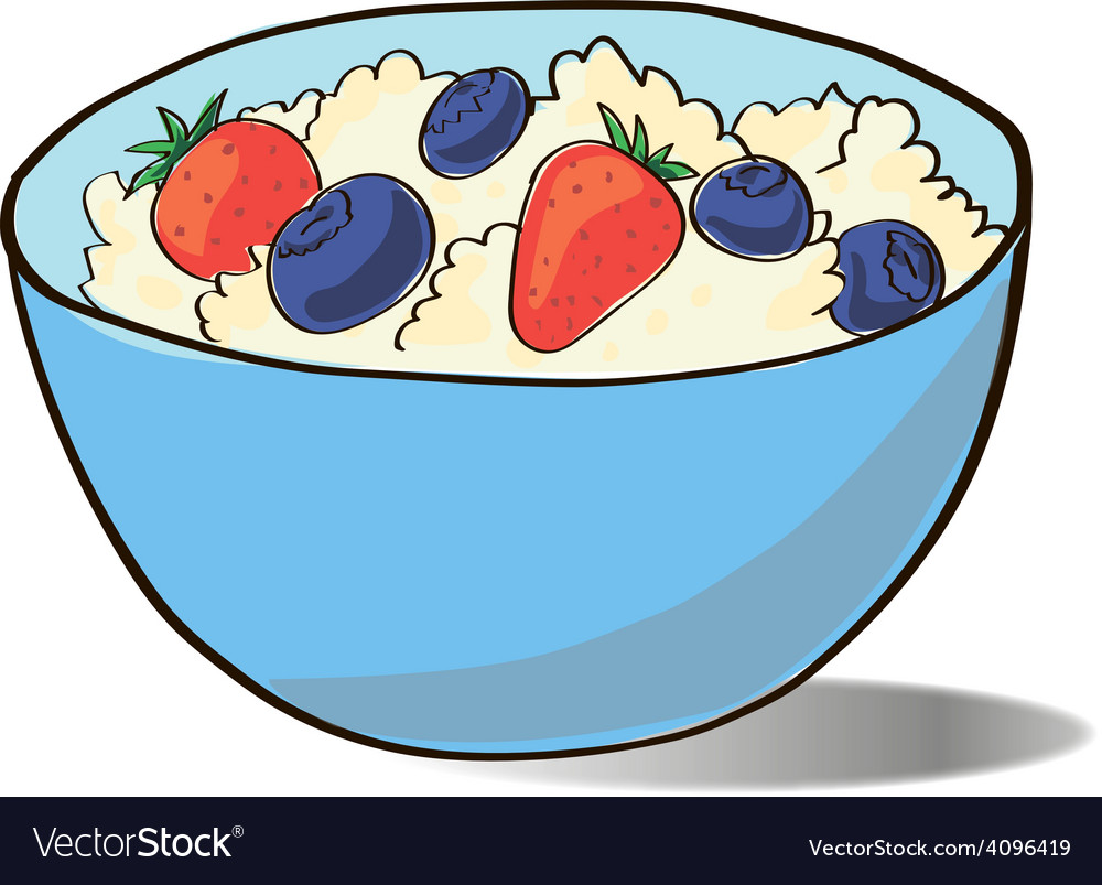 Cottage cheese in a blue cup vector | Price: 1 Credit (USD $1)