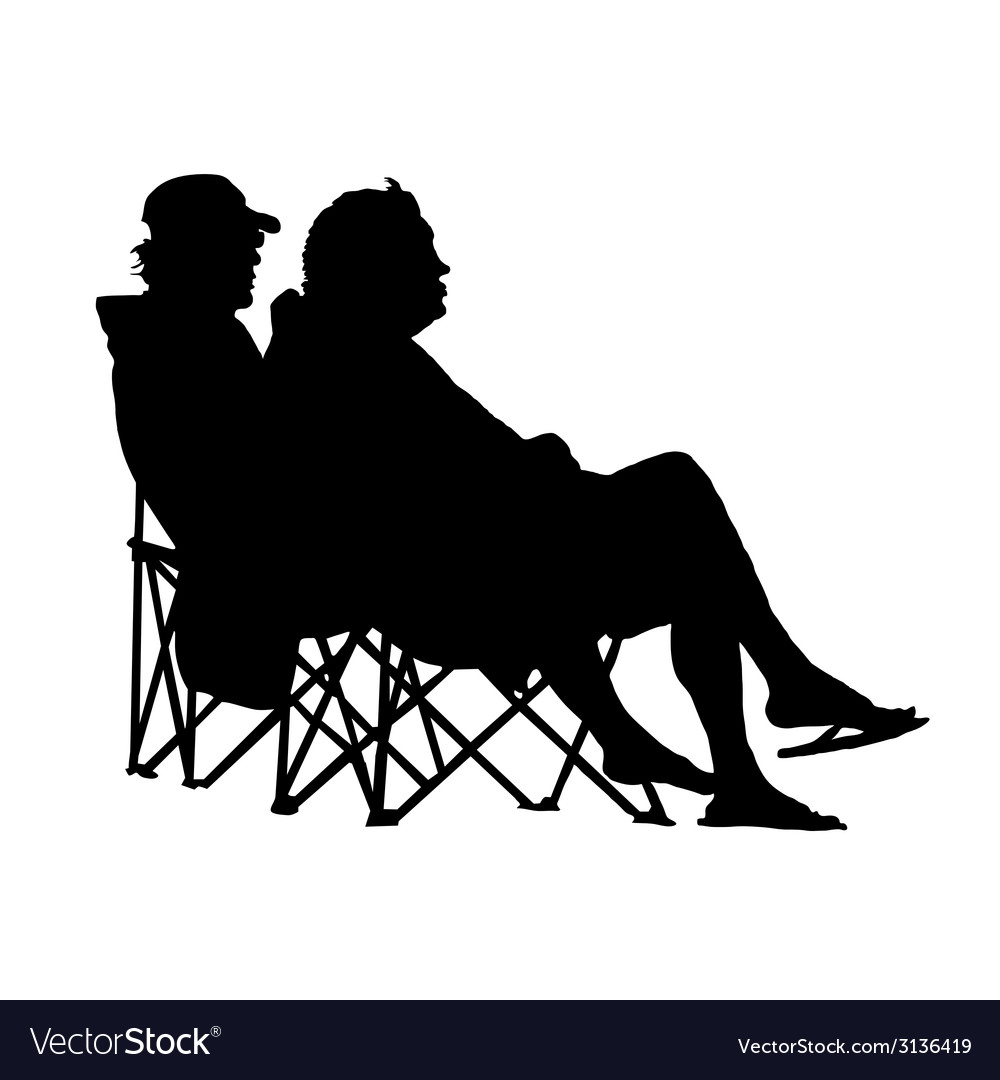 Couple sitting and enjoying silhouette vector | Price: 1 Credit (USD $1)