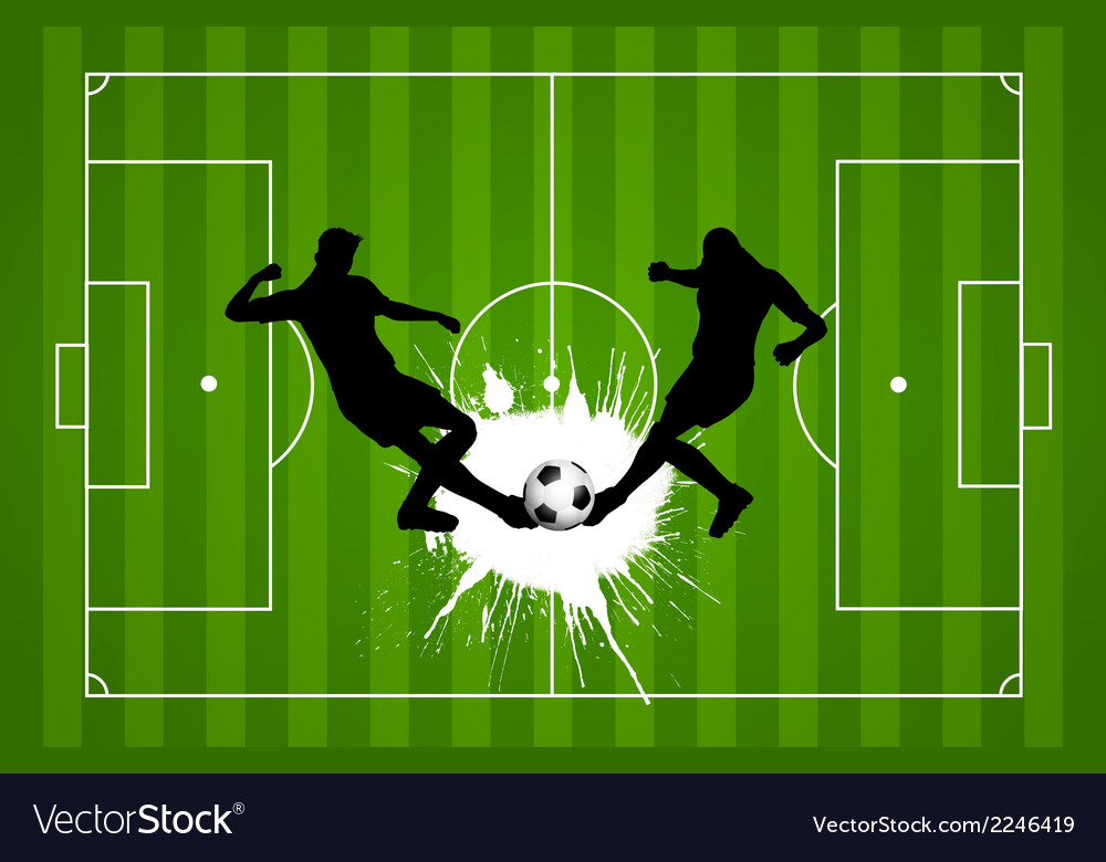 Football or soccer background with silhouettes of vector | Price: 1 Credit (USD $1)