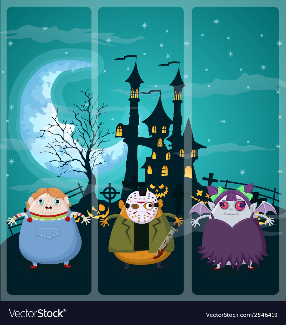 Halloween and background set 1 vector | Price: 1 Credit (USD $1)