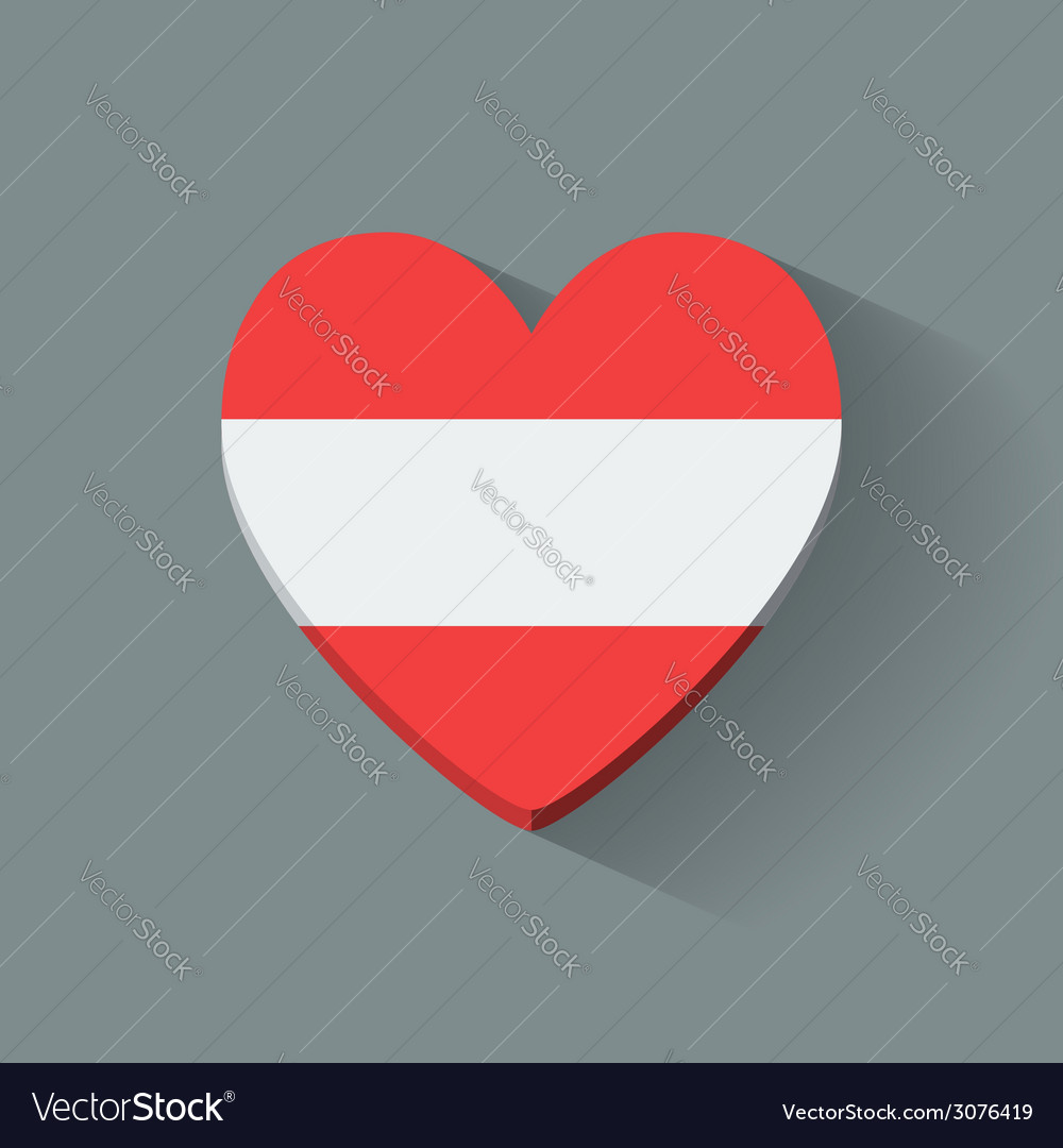 Heart-shaped icon with flag of austria vector | Price: 1 Credit (USD $1)