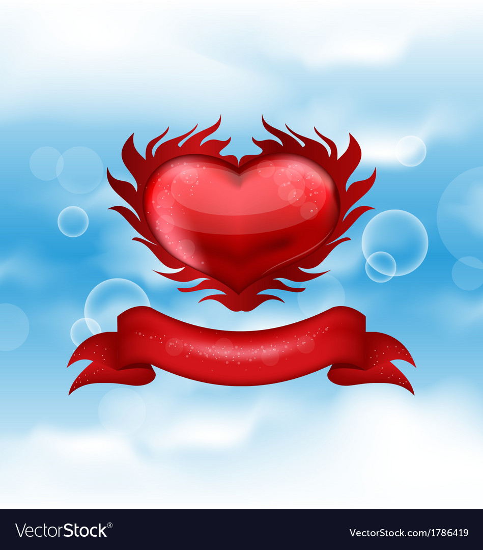 Red heart on blue sky for valentines day vector | Price: 1 Credit (USD $1)