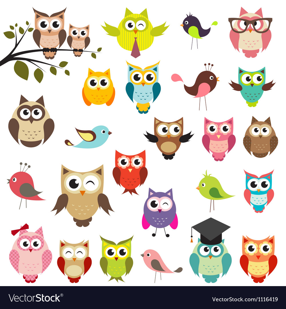 Set of owls vector | Price: 3 Credit (USD $3)
