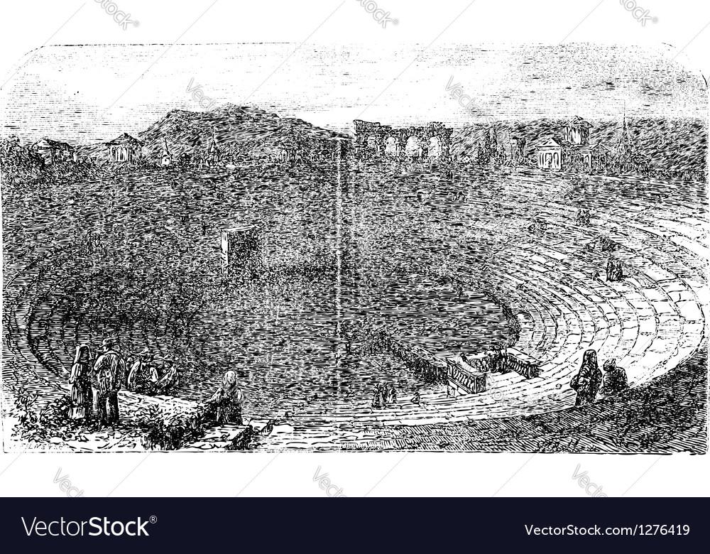 Verona arena in 1890 in verona italy vintage vector | Price: 1 Credit (USD $1)