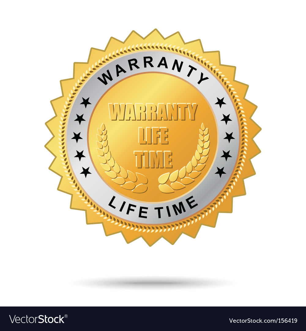 Warranty life time golden label vector | Price: 1 Credit (USD $1)