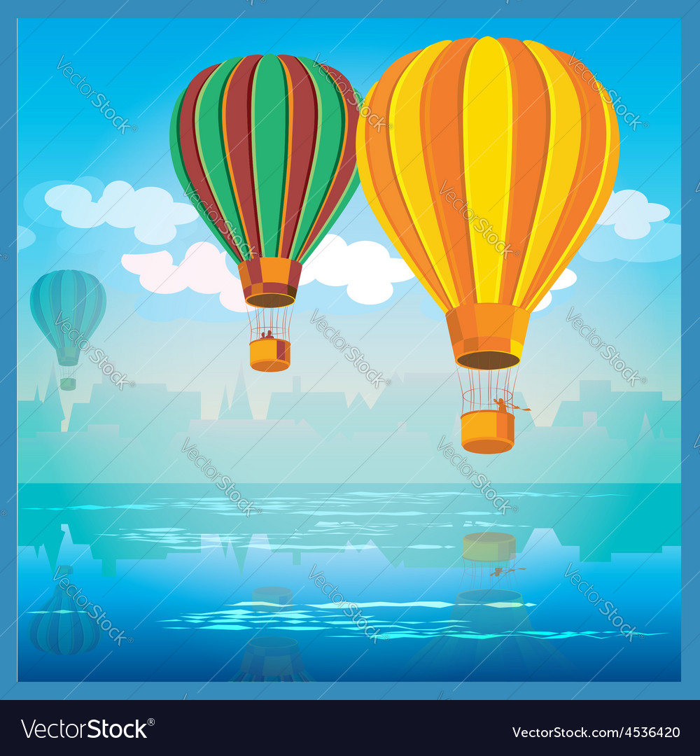Air balloons over water vector | Price: 3 Credit (USD $3)
