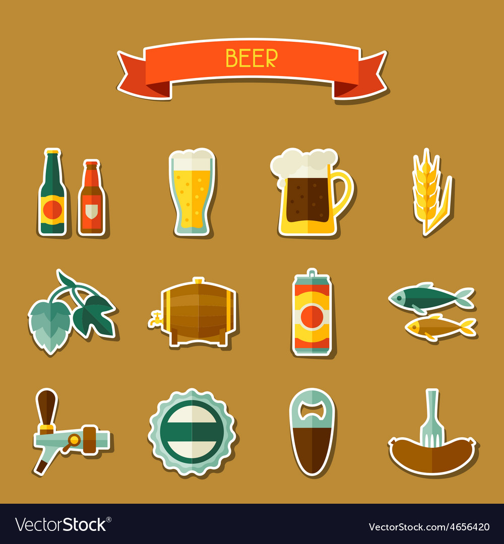 Beer sticker icon and objects set for design vector | Price: 1 Credit (USD $1)
