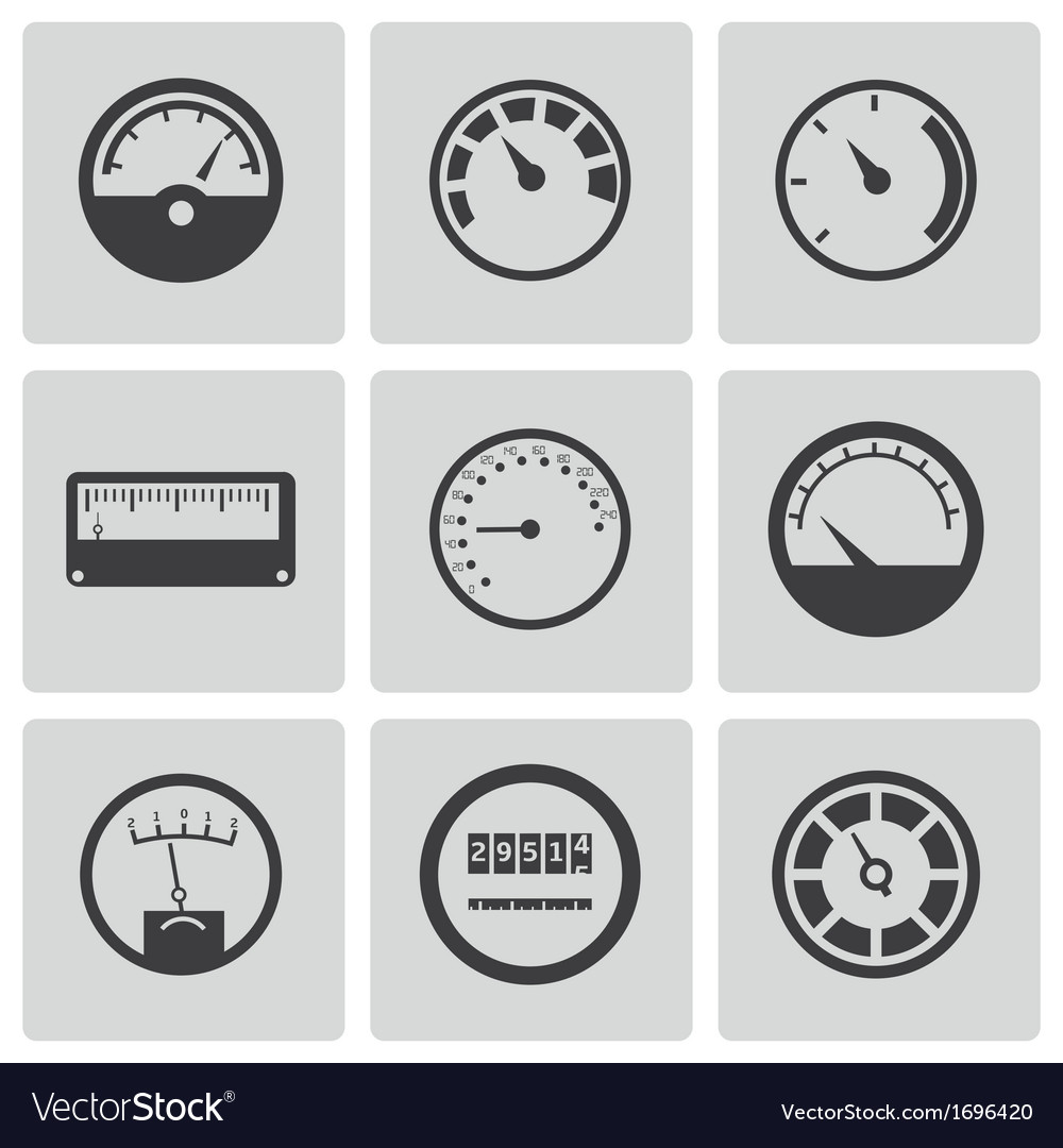 Black meter icons set vector | Price: 1 Credit (USD $1)