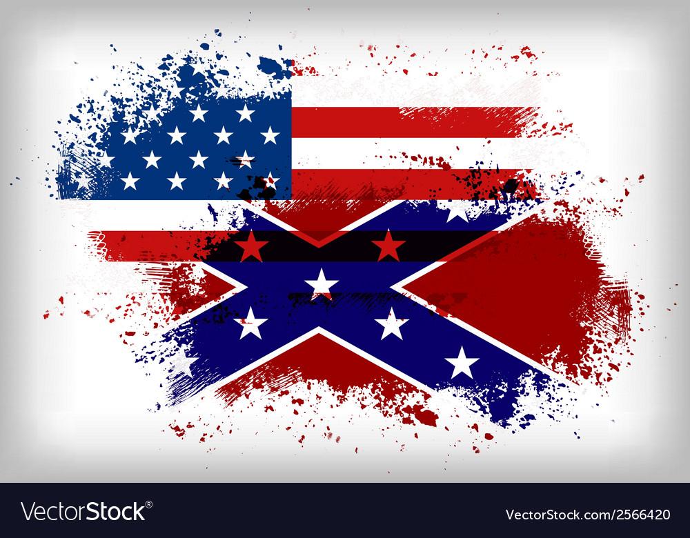 Confederate flag vs union flag civil war concept vector | Price: 1 Credit (USD $1)