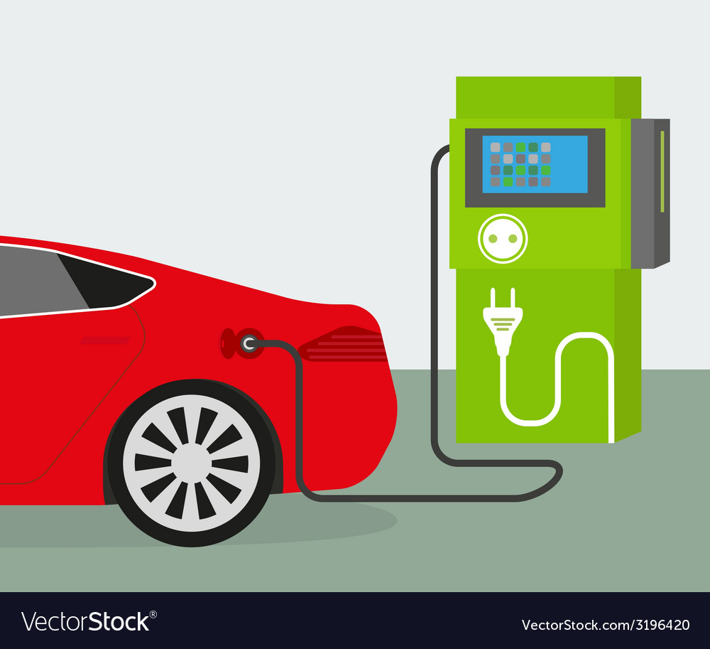 Electric car charging vector | Price: 1 Credit (USD $1)