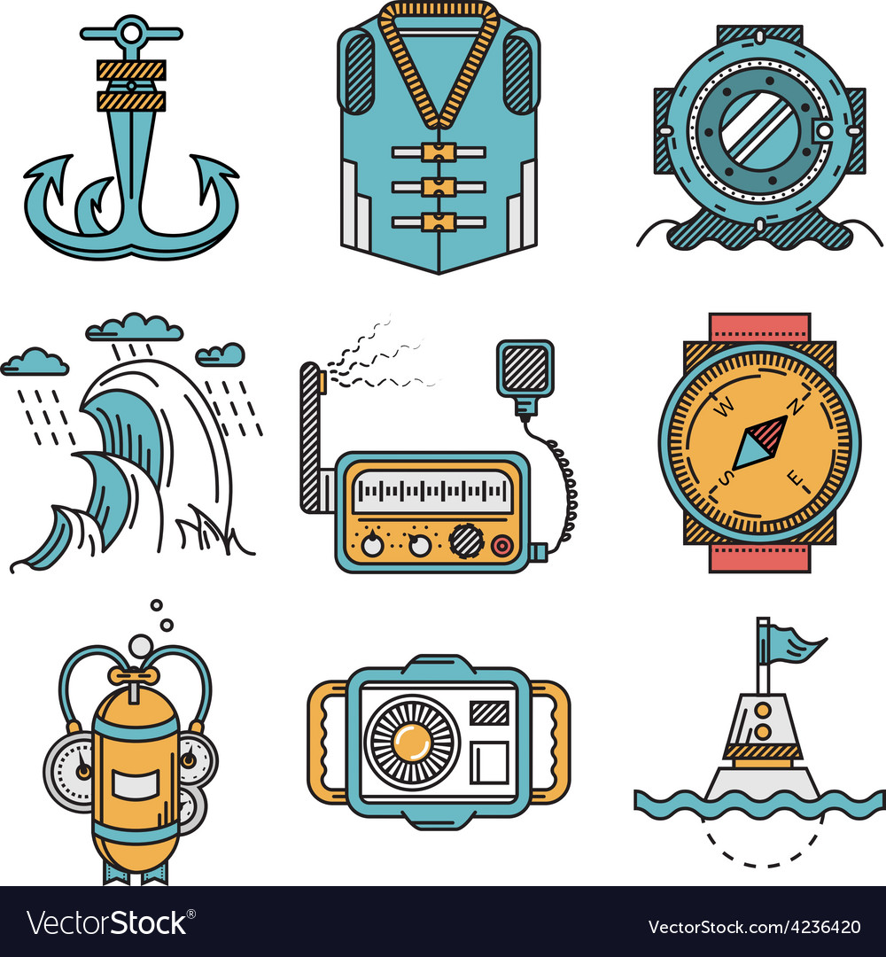 Flat line style nautical icons vector | Price: 1 Credit (USD $1)