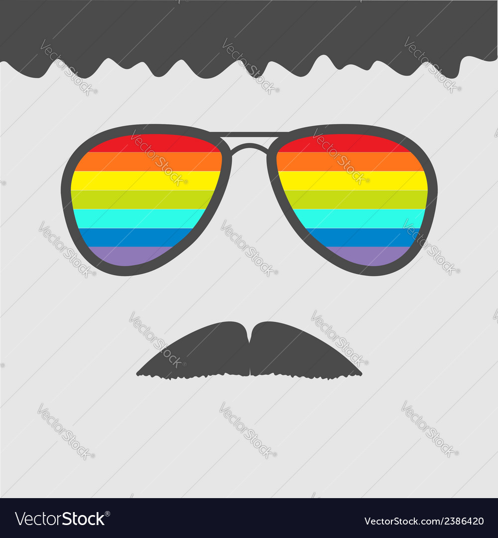 Glasses with rainbow lenses mustaches and hair vector | Price: 1 Credit (USD $1)