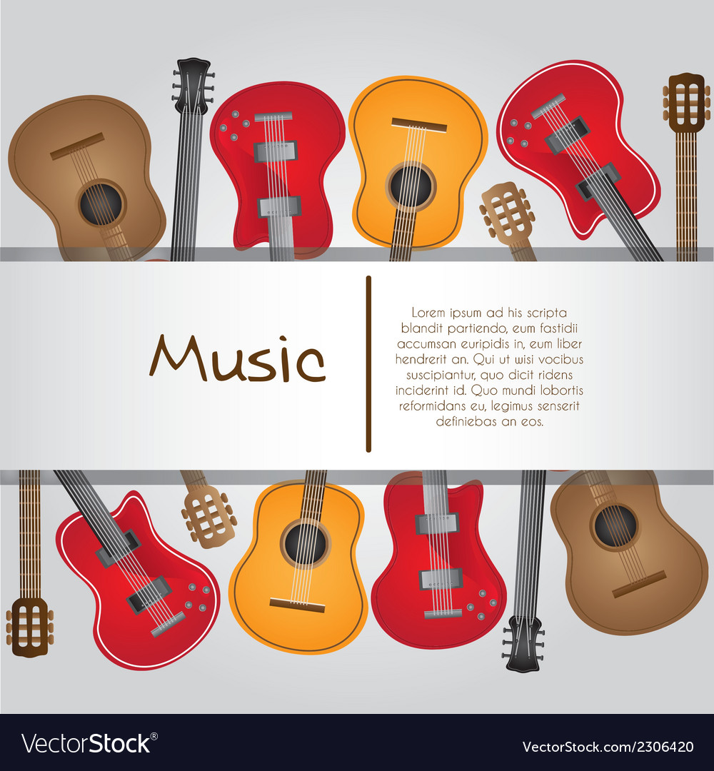 Guitar background with stripe for text vector | Price: 1 Credit (USD $1)