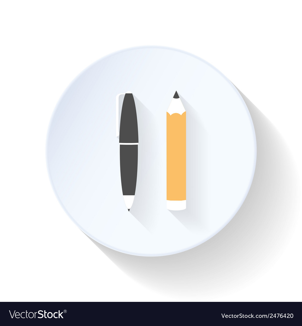 Pen and pencil flat icon vector   Price: 1 Credit (USD $1)