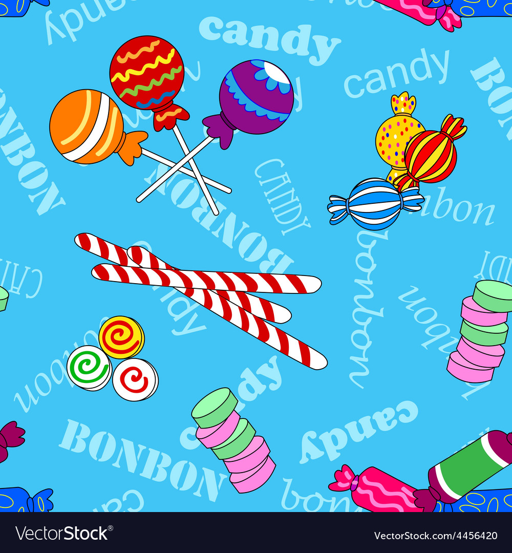 Seamless candy pattern over blue with bonbon and vector | Price: 1 Credit (USD $1)