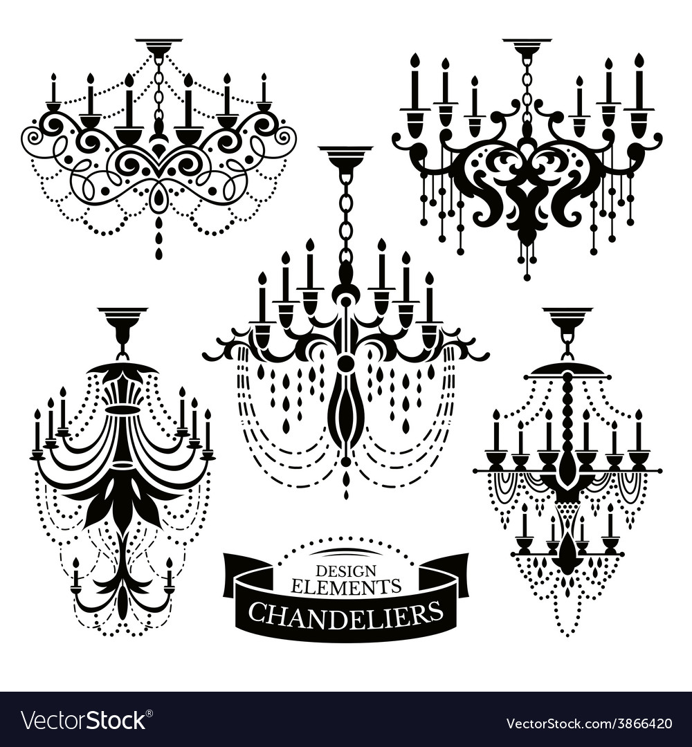 Set of chandelier silhouettes vector | Price: 1 Credit (USD $1)
