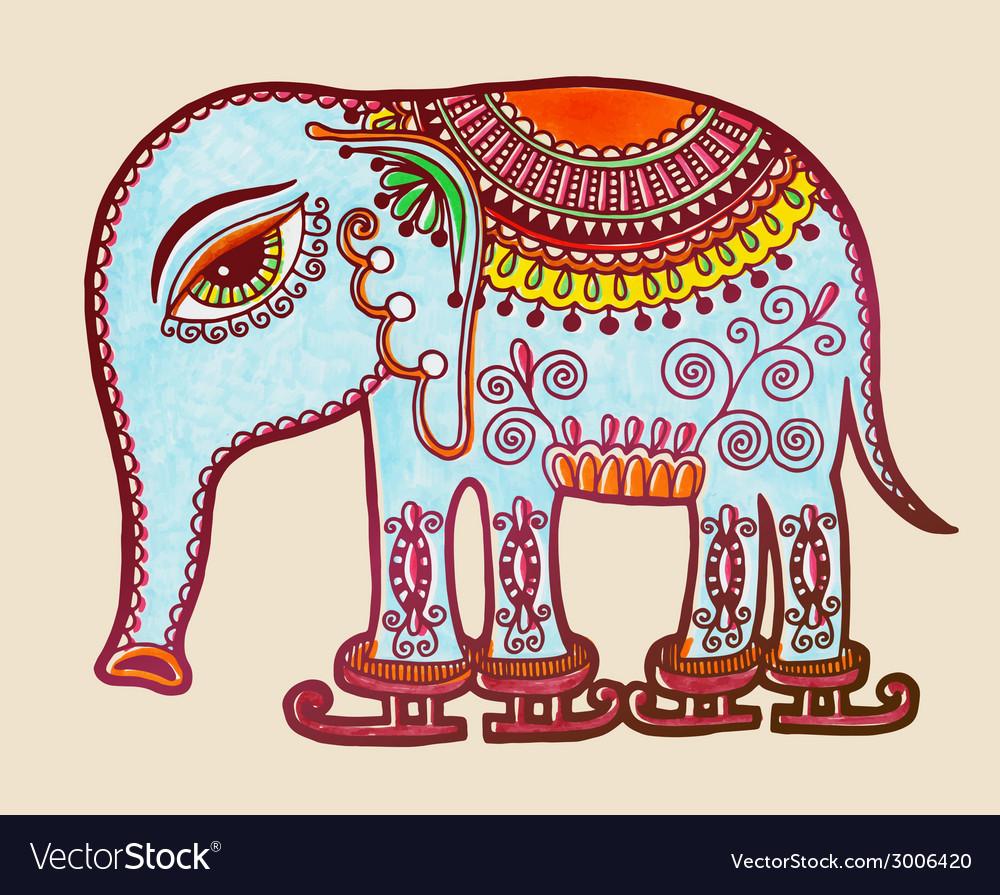Tribal elephant ice skating ornamental marker vector | Price: 1 Credit (USD $1)