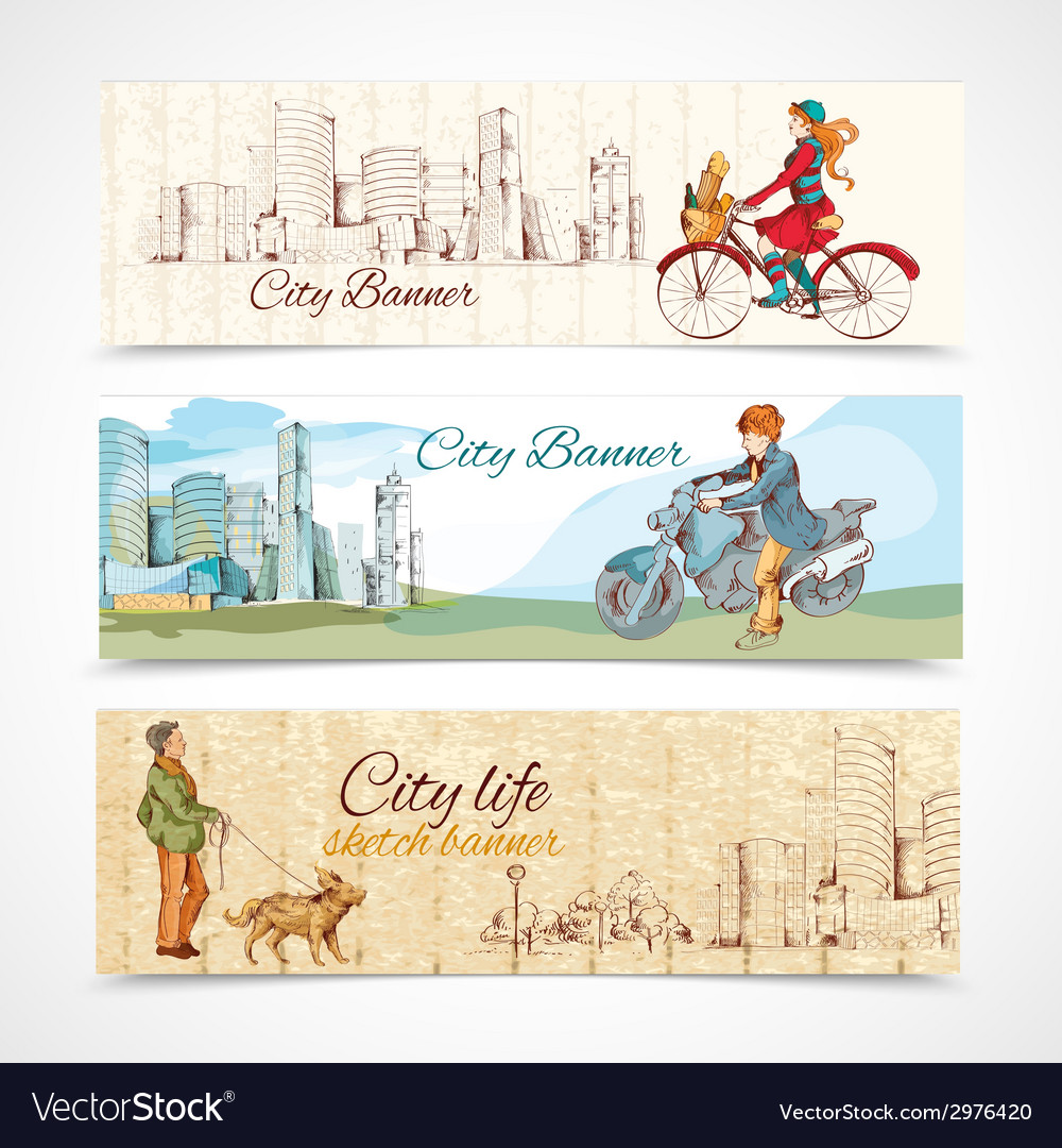 Urban people horizontal banners sketch colored vector | Price: 1 Credit (USD $1)