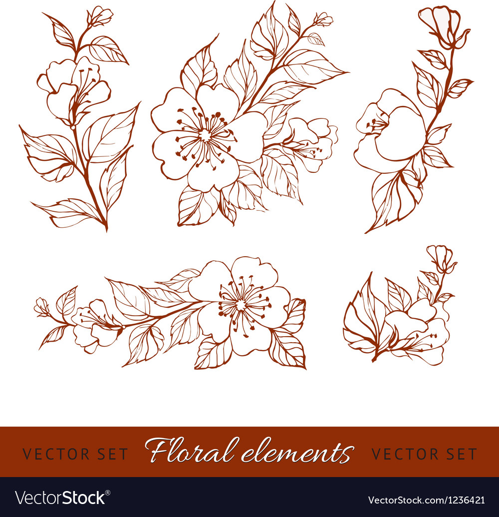 Abstract flower set vector | Price: 1 Credit (USD $1)