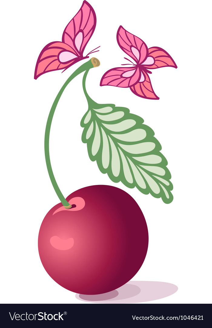 Cherry and butterfly vector | Price: 1 Credit (USD $1)